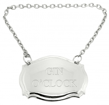 Gin O'Clock Engraved Silver Plated Decanter Label