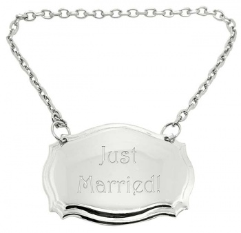Just Married Silver Plated Decanter Label