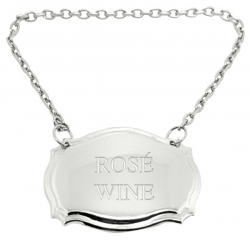 Rosé Wine Engraved Silver Plated Decanter Label