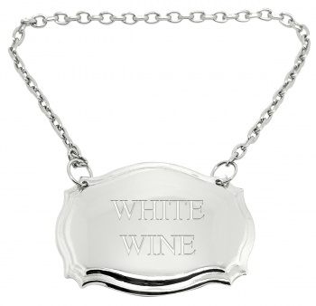 White Wine Engraved Silver Plated Decanter Label