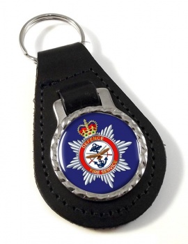 Defence Fire Service Leather Key Fob