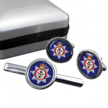 Defence Fire Service Round Cufflink and Tie Clip Set