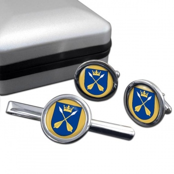 Dalarna (Sweden) Round Cufflink and Tie Clip Set