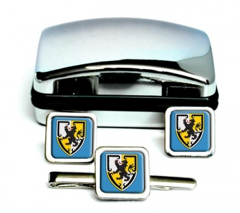 Denbighshire-Square Cufflink and Tie Clip Set