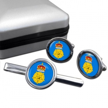 Derbyshire County Round Cufflink and Tie Clip Set