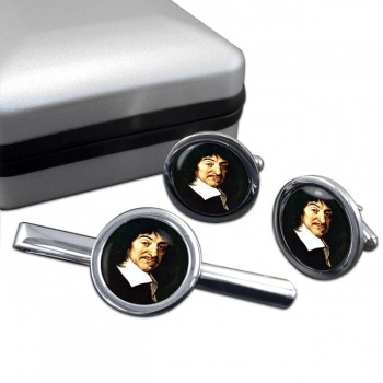 Rene� Descartes Round Cufflink and Tie Clip Set