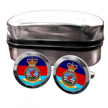 Defence Helicopter Flying School Round Cufflinks