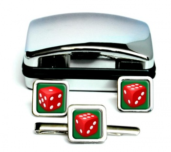 Dice Square Cufflink and Tie Clip Set