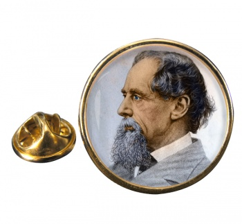Charles Dickens Round Pin Badge