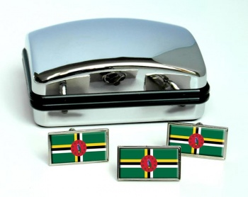 Dominica Flag Cufflink and Tie Pin Set