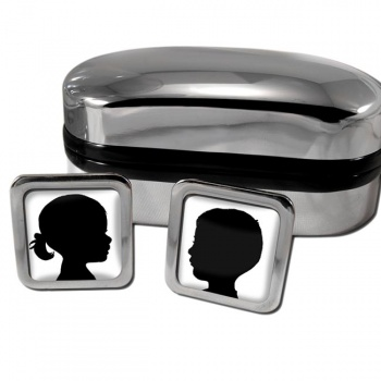 Double Photo (Any 2 photos) Square Cufflinks