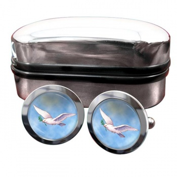 Dove of the Ark Round Cufflinks