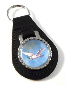 Dove of the Ark Leather Keyfob