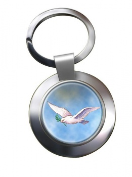 Dove of the Ark Leather Chrome Key Ring