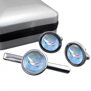 Dove of the Ark Round Cufflink and Tie Bar Set