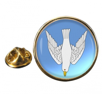 Dove Descending Round Pin Badge