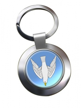 Dove Descending Leather Chrome Key Ring