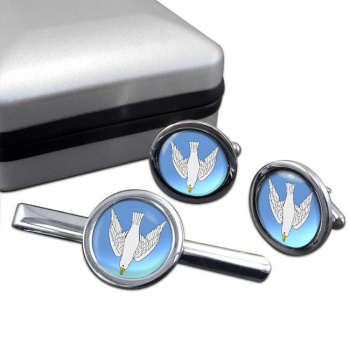 Dove Descending Round Cufflink and Tie Bar Set