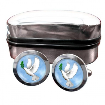 Dove of Noah Round Cufflinks