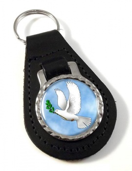 Dove of Noah Leather Keyfob