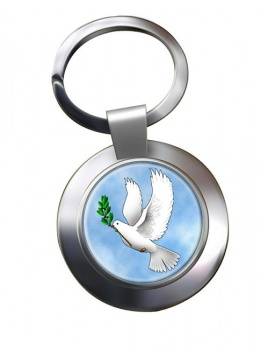 Dove of Noah Leather Chrome Key Ring