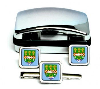 County Down (UK) Square Cufflink and Tie Clip Set