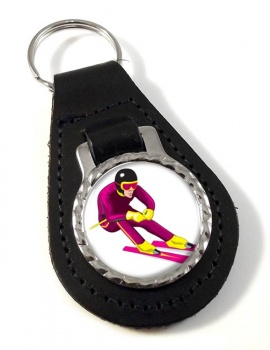 Downhill Skier Leather Key Fob