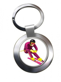 Downhill Skier Chrome Key Ring