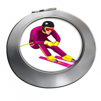 Downhill Skier Chrome Mirror