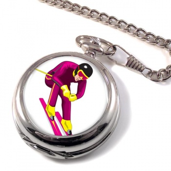 Downhill Skier Pocket Watch