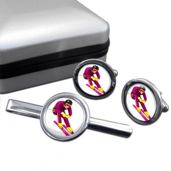 Downhill Skier Round Cufflink and Tie Clip Set