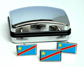 Democratic Republic of the Congo Flag Cufflink and Tie Pin Set
