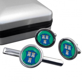 Dublin (Ireland) Round Cufflink and Tie Clip Set