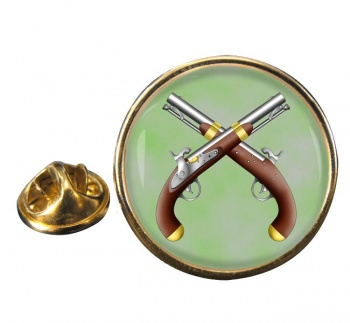 Duelling Pistols Round Pin Badge