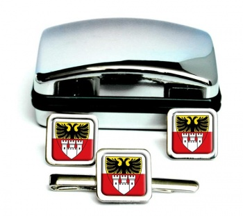 Duisburg (Germany) Square Cufflink and Tie Clip Set