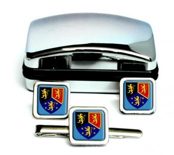 Dyfed-Square Cufflink and Tie Clip Set