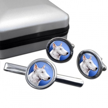 English Bull Terrier  Cufflink and Tie Clip Set