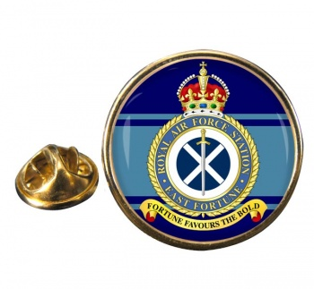 RAF Station East Fortune Round Pin Badge