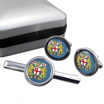 East India Company Round Cufflink and Tie Clip Set