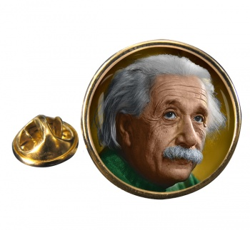 Albert Einstein Round Pin Badge