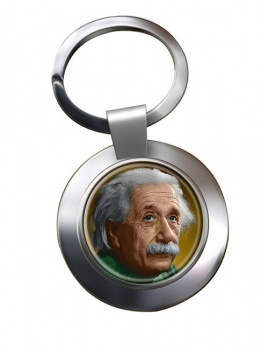 Albert Einstein Chrome Key Ring