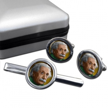 Albert Einstein Round Cufflink and Tie Clip Set