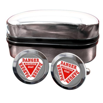 Danger Ejection Seat Round Cufflinks
