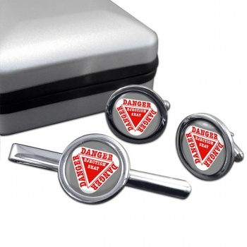 Danger Ejection Seat Cufflink and Tie Clip Set