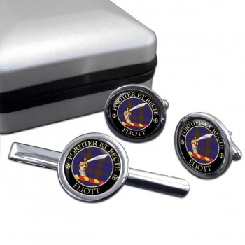 Eliott Scottish Clan Round Cufflink and Tie Clip Set