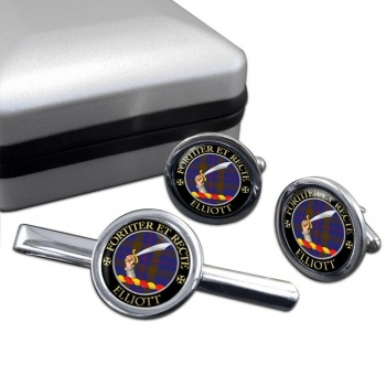 Elliott Scottish Clan Round Cufflink and Tie Clip Set