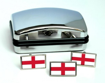 England Flag Cufflink and Tie Pin Set