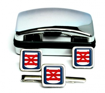 Enschede (Netherlands) Square Cufflink and Tie Clip Set