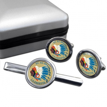 Escadron de Chasse 02-004 ''La Fayette'' (French Air Force) Round Cufflink and Tie Clip Set