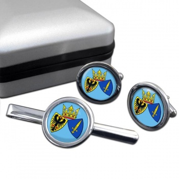 Essen (Germany) Round Cufflink and Tie Clip Set